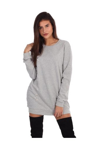 LA SISTERS DAMAGED OVERSIZED SWEATER GREY