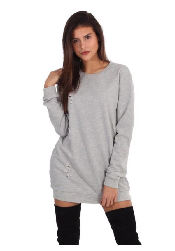 DAMAGED OVERSIZED SWEATER GREY