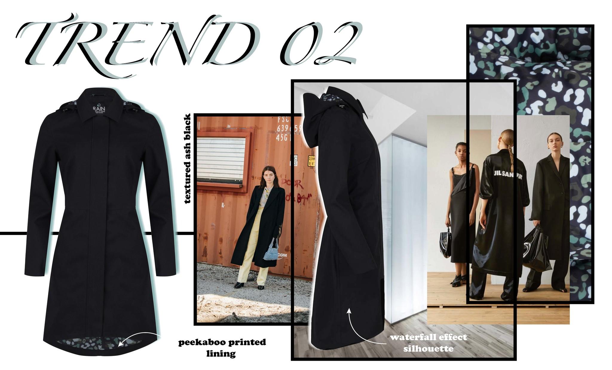 Waterfall coat in black - trend