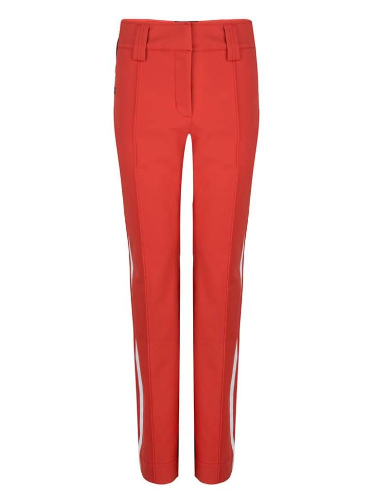 The waterproof pants in coral red