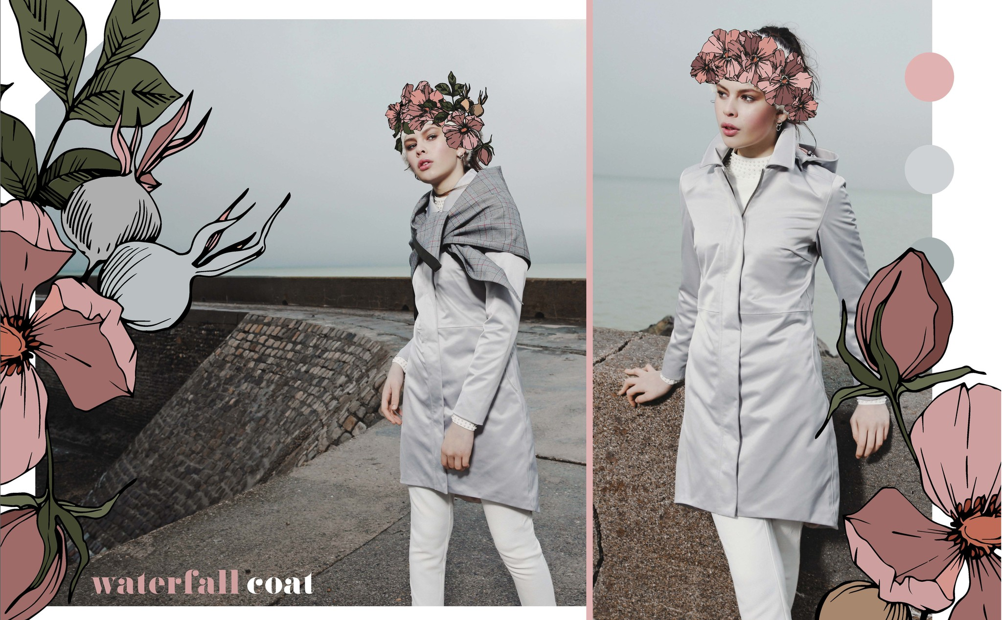 The waterfall coat in silver