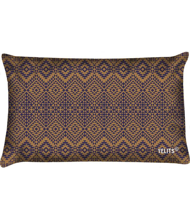 Velits Buitenkussen patroon bruin-blauw
