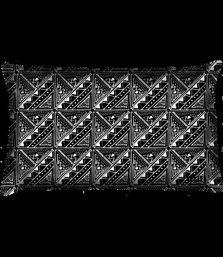Velits Buitenkussen patroon zwart wit