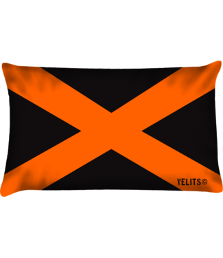 Velits Buitenkussen Cross zwart oranje