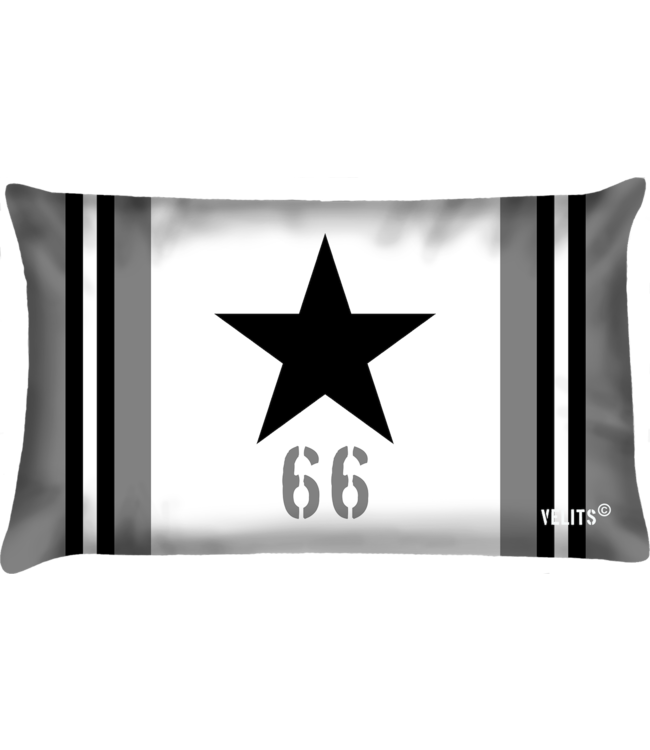 Velits Buitenkussen Star wit-zwart
