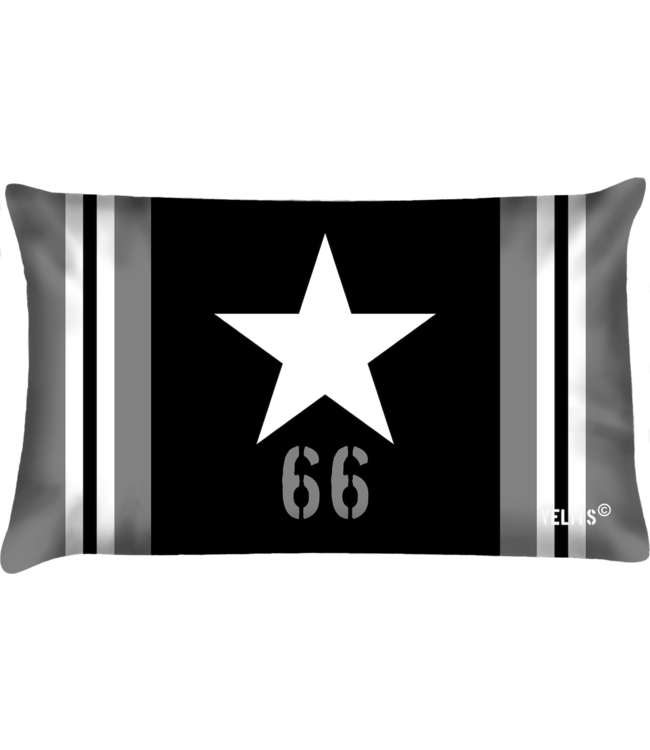 Velits Buitenkussen Star zwart-wit