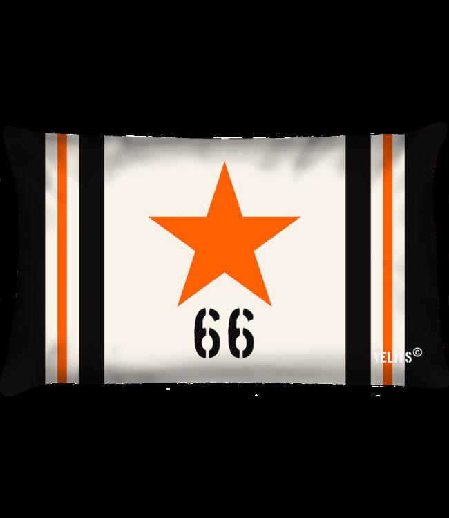 Velits Buitenkussen Star ecru-oranje