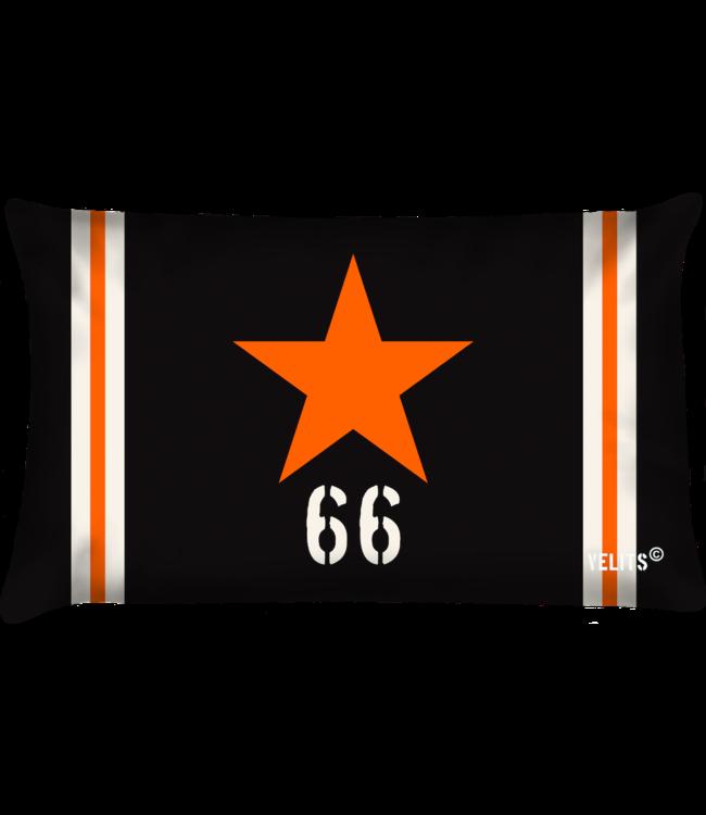 Velits Buitenkussen Star antraciet oranje