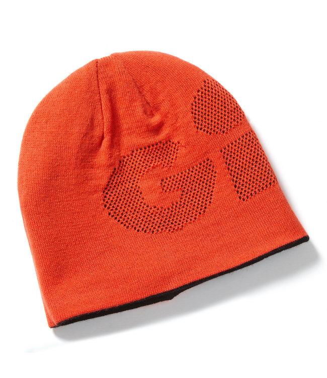 Gill Gebreide muts omkeerbaar zwart/oranje