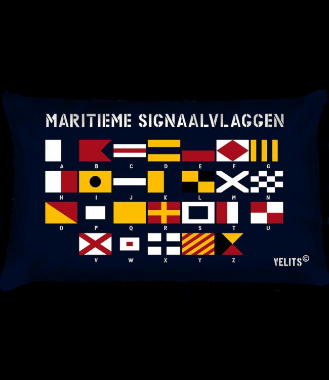 Velits Bootkussen Seinvlaggen alfabet blauw
