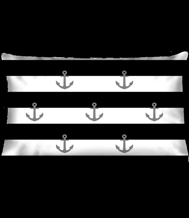 Velits Buitenkussen Men in Black gestreept ankers