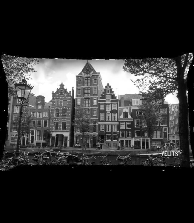 Velits Buitenkussen Amsterdam grachtenpanden Dutchies zwart wit