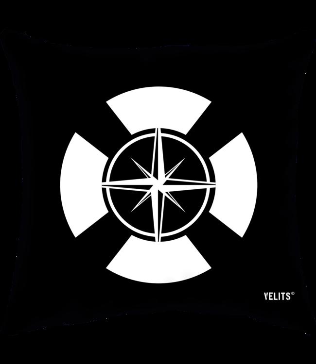 Velits Buitenkussen Men in Black boei kompas zwart