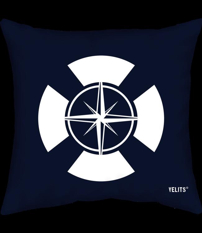 Velits Buitenkussen Hollands Glorie boei kompas blauw