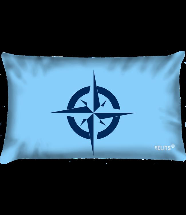 Velits Buitenkussen Blauw Bloed lichtblauw kompas