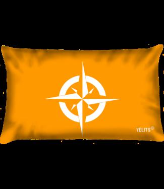 Velits Buitenkussen Oranje Blanje Bleu kompas