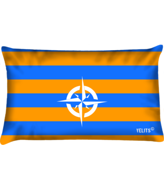 Velits Buitenkussen Oranje Blanje Bleu gestreept kompas
