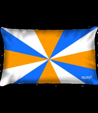 Velits Buitenkussen Oranje Blanje Bleu geus
