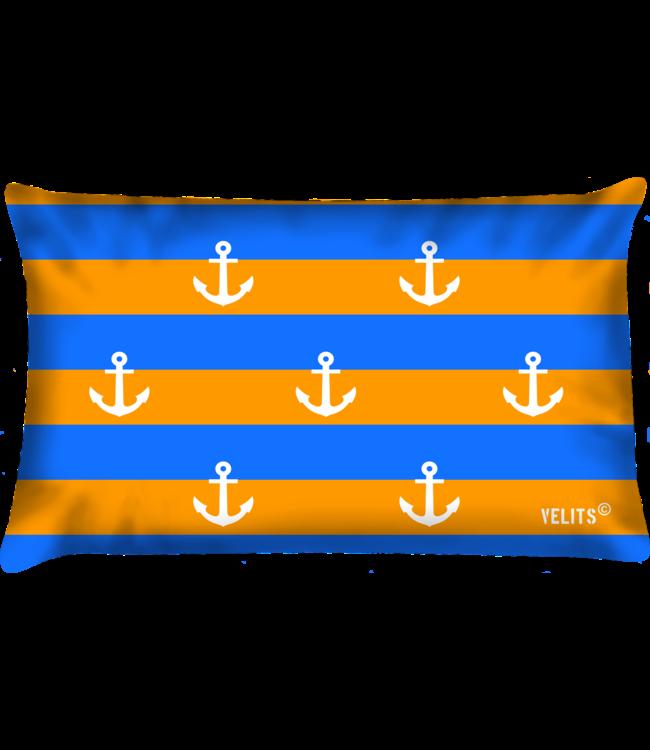 Velits Buitenkussen Oranje Blanje Bleu  Ankers