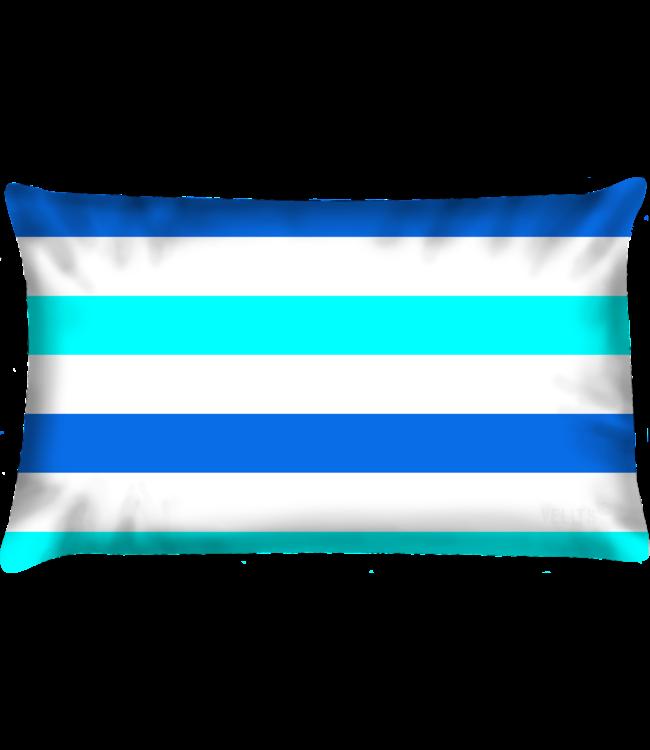 Velits Buitenkussen Summertimes gestreept blauw
