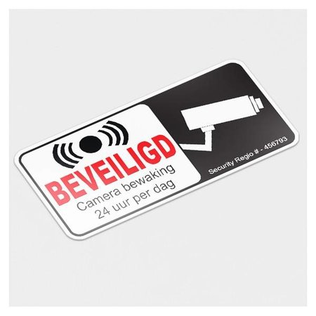 24 uur beveiligd sticker achterkant raam/witte folie