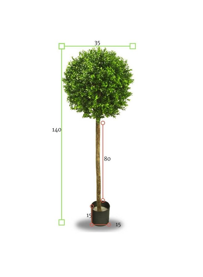 Artificial outdoor Boxwood ball on trunk 140 cm UV protected