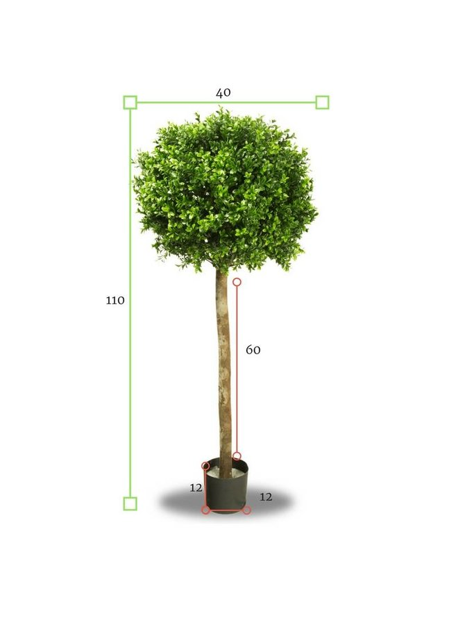 Artificial outdoor Boxwood ball on trunk 110 cm UV protected
