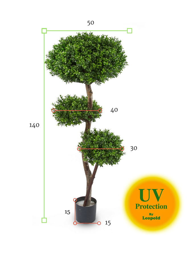 Outdoor Artificial Boxwood Multistem 140 cm with 3 balls  UV protected