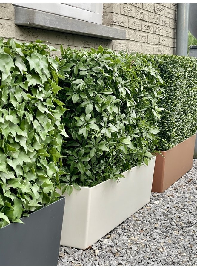 Artificial outdoor Schefflera hedge on frame with UV protection