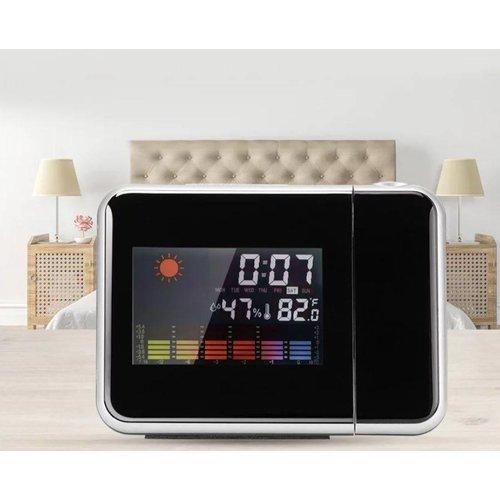 Digitale klok projector met weerstation voor weergave van tijd, datum, maand, temperatuur en luchtvochtigheid.