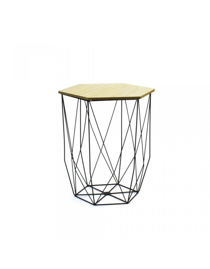 Side tables wood with metal - black - 2 pieces