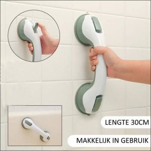 Bathroom handle with suction cup