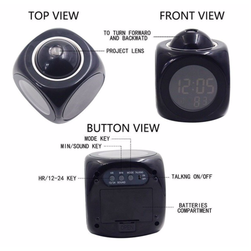Alarm with projection clock