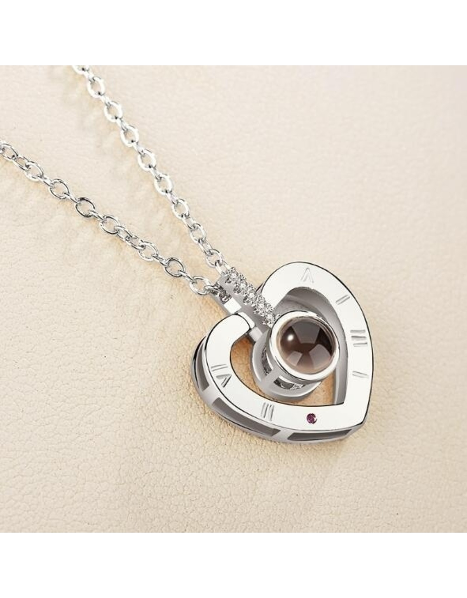 Parya Official  Necklace with projection (I love you) - silver