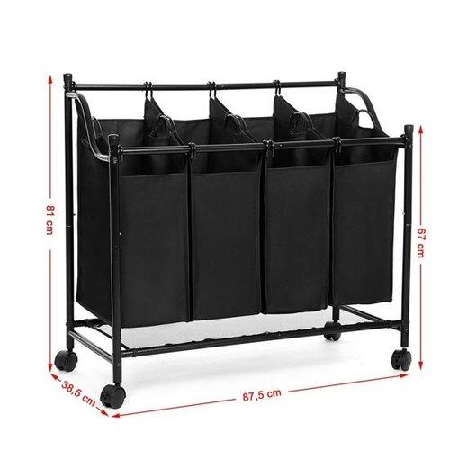 Laundry sorter laundry basket on wheels - 4 Laundry bags
