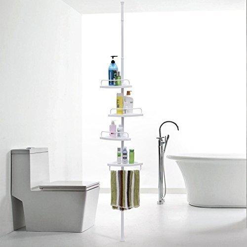 Parya Home - Praktisch uitschuifbaar Douche Rek met 4 Schappen voor de Badkamer