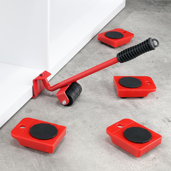 Furniture transport castors set with furniture lifter