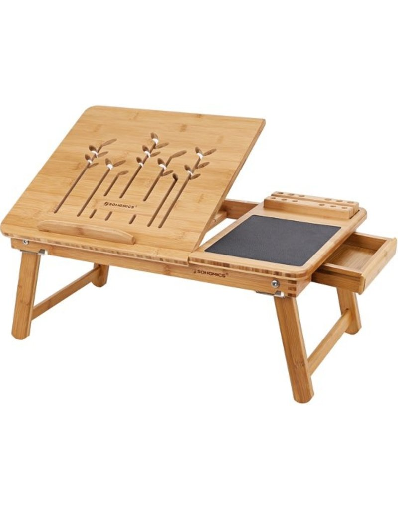 Merkloos Bamboo laptop table, mousepad and telephoneholder included