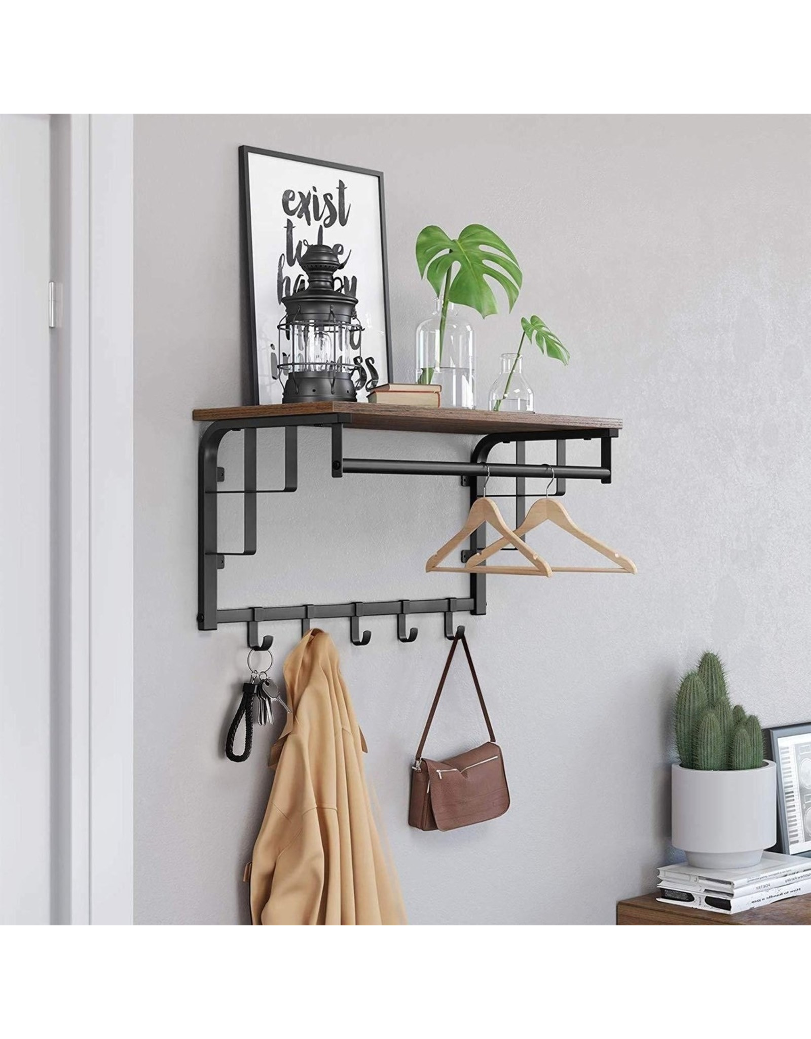 Vintage Wall Coatrack - With 5 Hooks