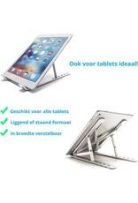 Laptop en tablet Standaard - Verstelbaar en Opvouwbaar - Aluminium Laptop en Tablet Houder met Opbergzakje