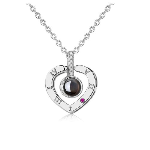 Necklace with projection (I love you) - silver
