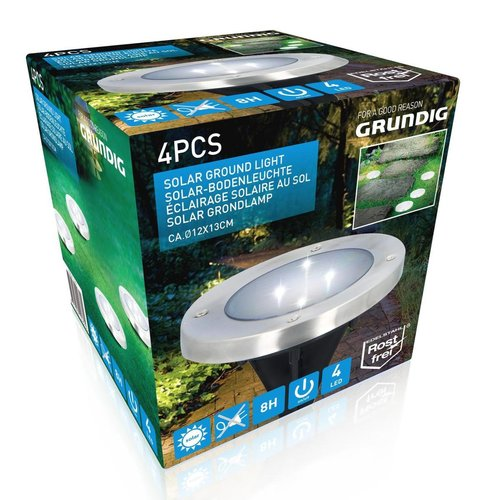 Grundig Grundig floor lamp - solar - 4 pieces - 4 LEDs - stainless steel