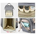 Diaper and Nursery Bag - 23.8 Liter - With Stroller and Buggy Hook - Gray