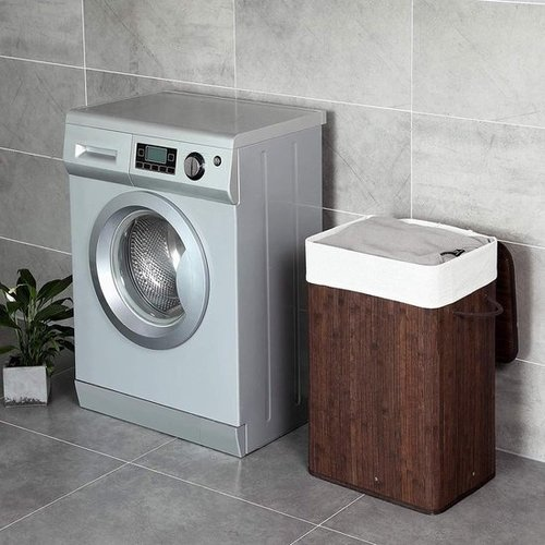 Bamboo laundry basket - Dark brown- 72L