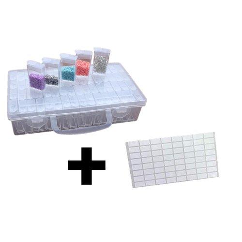 Opbergdoos voor Diamond Painting - Sorteerdoos met 64 vakjes - Inclusief stickervel