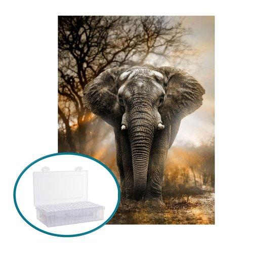Parya Official - Diamond Painting - Includes storage box - Elephant in the savanna