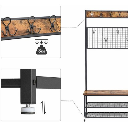 Parya Home - Coat rack holder with 9 hooks - Wardrobe rack - Shoe rack