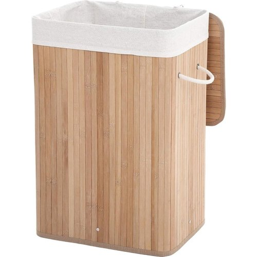 Parya Home - Bamboe Wasmand met Deksel, Katoenen Zak en Handvaten - 72L - Natuurlijk Bruin