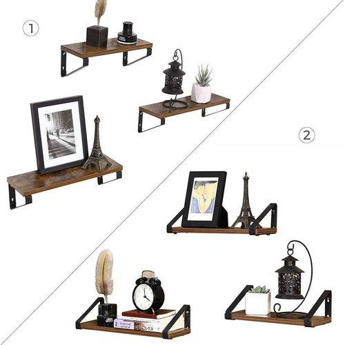 Parya Home - Set van 3 Boekenplanken in Vintage Hout | Wandplank | Industrieel