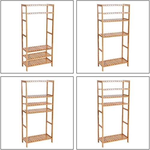 Parya Home - Badkamer Rek met 5 Etages - Opbergrek met Verstelbare Planken -